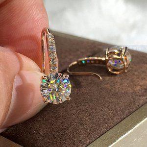 NEW 18K White/Rose Gold Diamond Drop Earrings